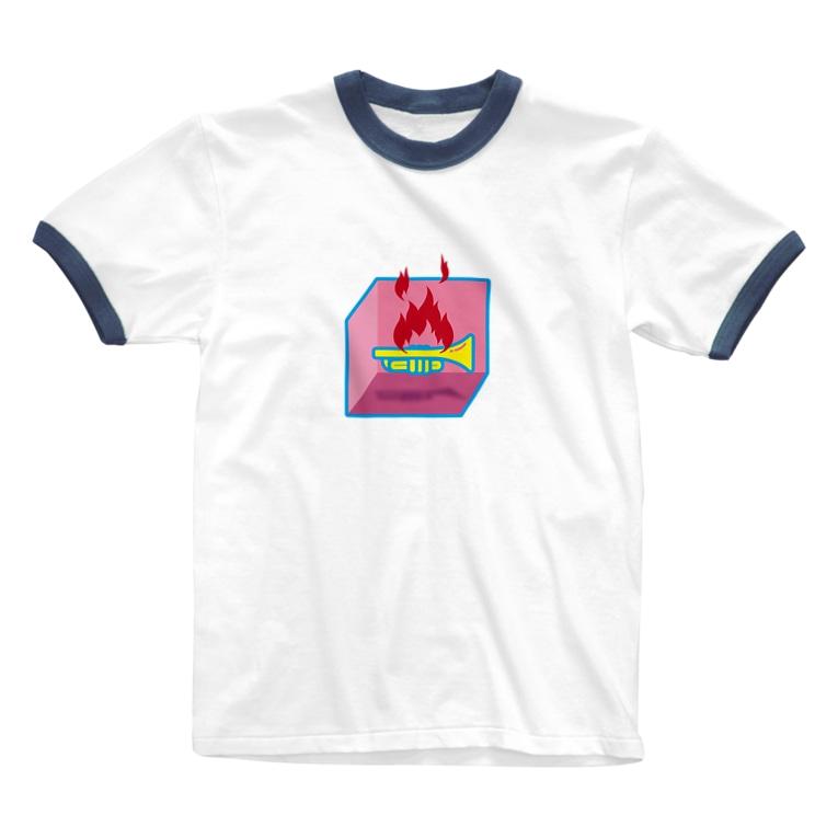 ななまるの燃えるトランペット Ringer T-shirts