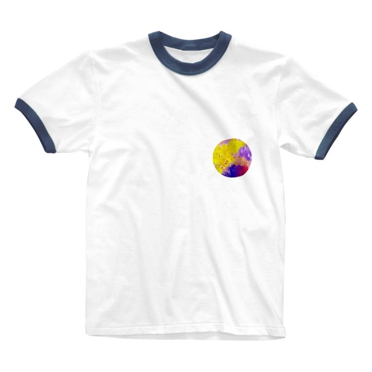 TAMAKI SUDOの月みたいなペイント Ringer T-shirts