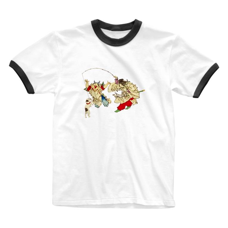 猫の浮世絵・草紙の猫と遊ぶ神功皇后と恵比寿天 Ringer T-shirts