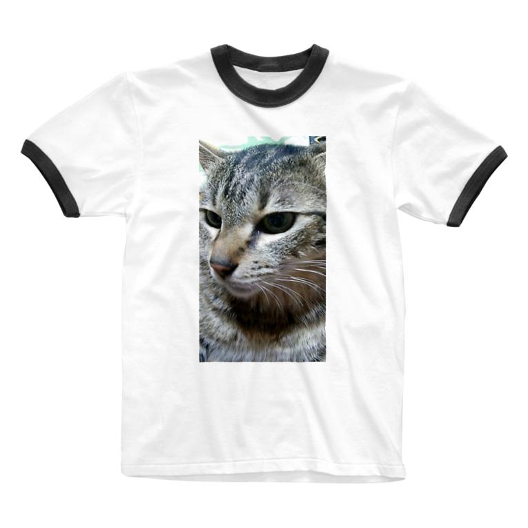 nyankodesuの強運の持ち主ももちゃんです(^▽^)/ Ringer T-shirts