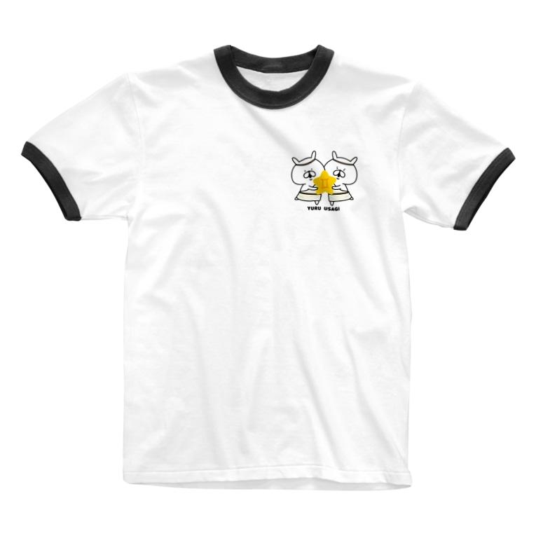 chococo_yuruusagiのゆるうさぎ ふたご座 Ringer T-shirts