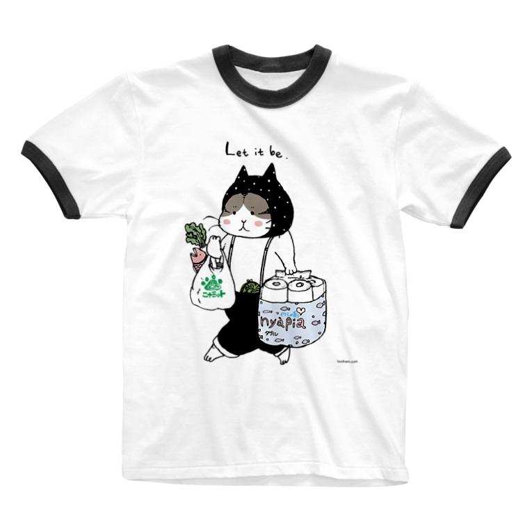 ほっかむねこ屋(アトリエほっかむ)のお買い物ねこ Ringer T-shirts