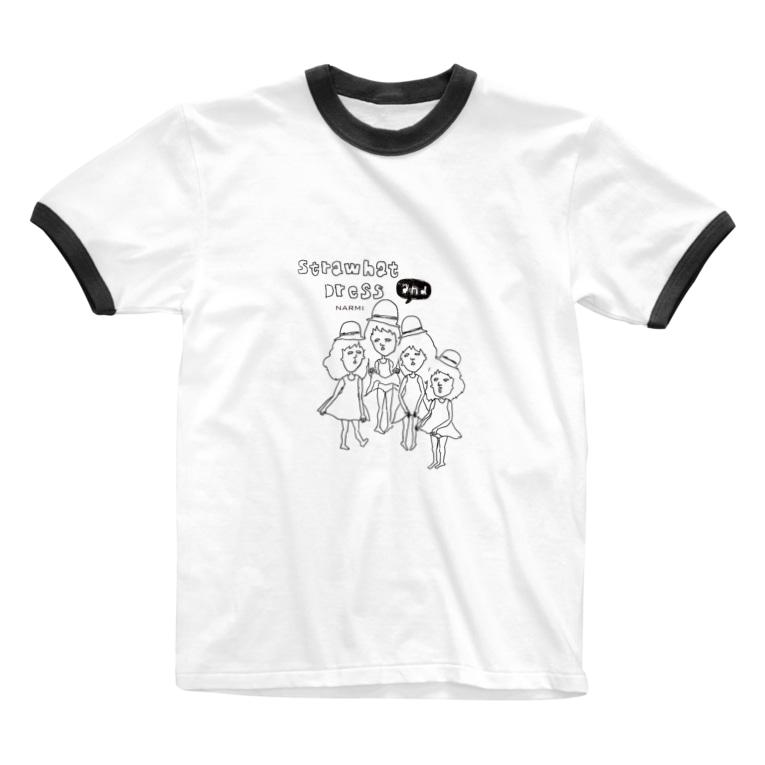 脱力本舗。の麦わら帽子とワンピース Ringer T-shirts