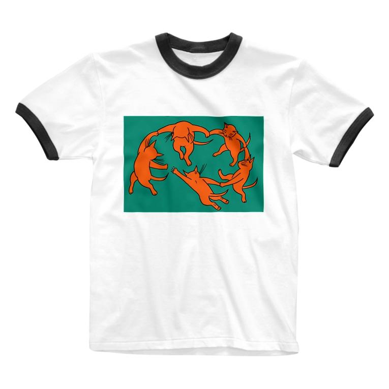 mikepunchのネコのダンス Ringer T-shirts