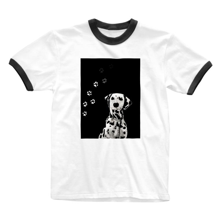 TokyoSienneのBLACK & WHITE DOG Ringer T-shirts