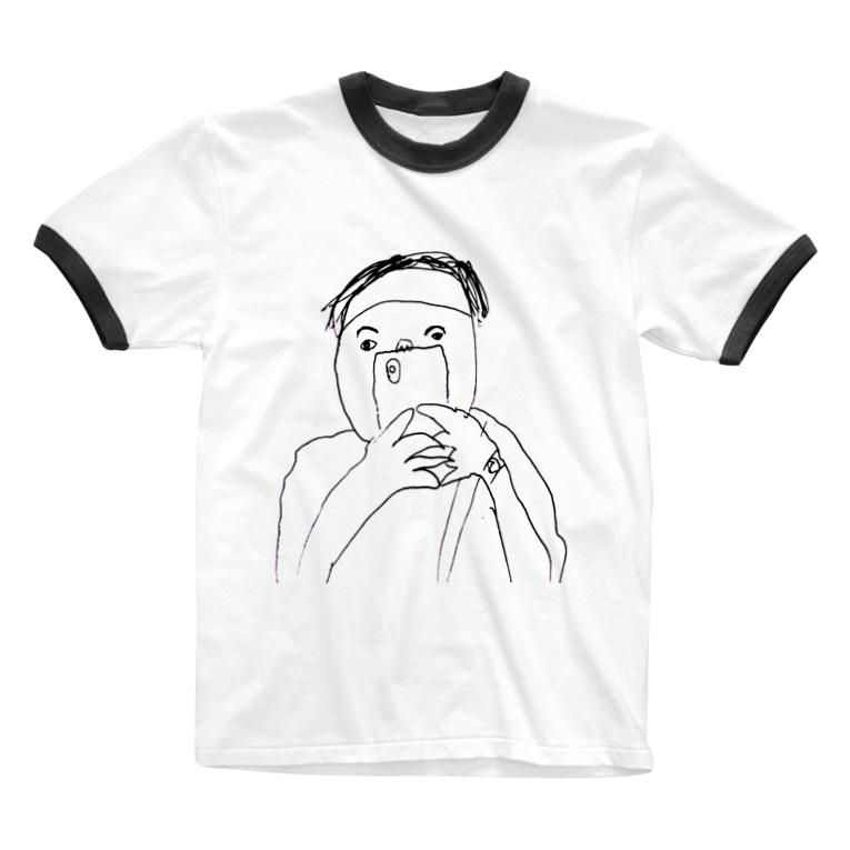 oreteki design shopのイシハラユラデザインTシャツ Ringer T-shirts
