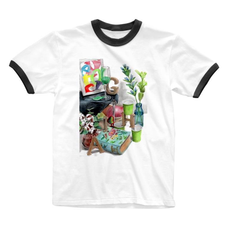 techonのHAGI隠れ Ringer T-shirts