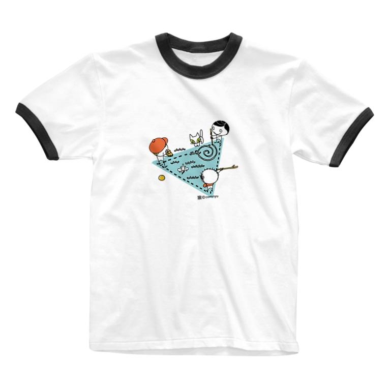 こむにゅのアパートメントの子どもの遊び(トライアングル) Ringer T-shirts