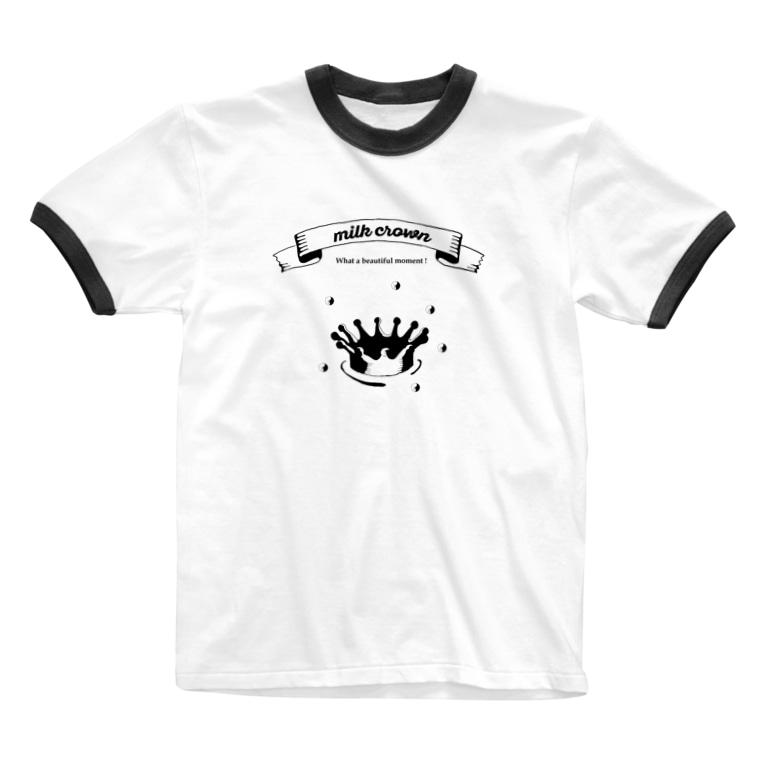 いときち化学のミルククラウン Ringer T-shirts