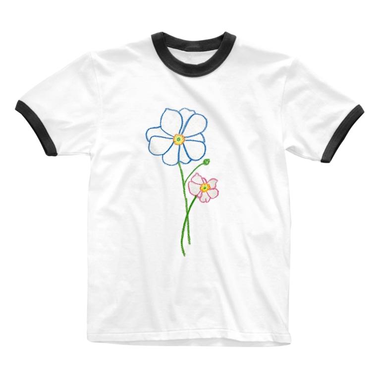 mackyのシュウメイギク Ringer T-shirts