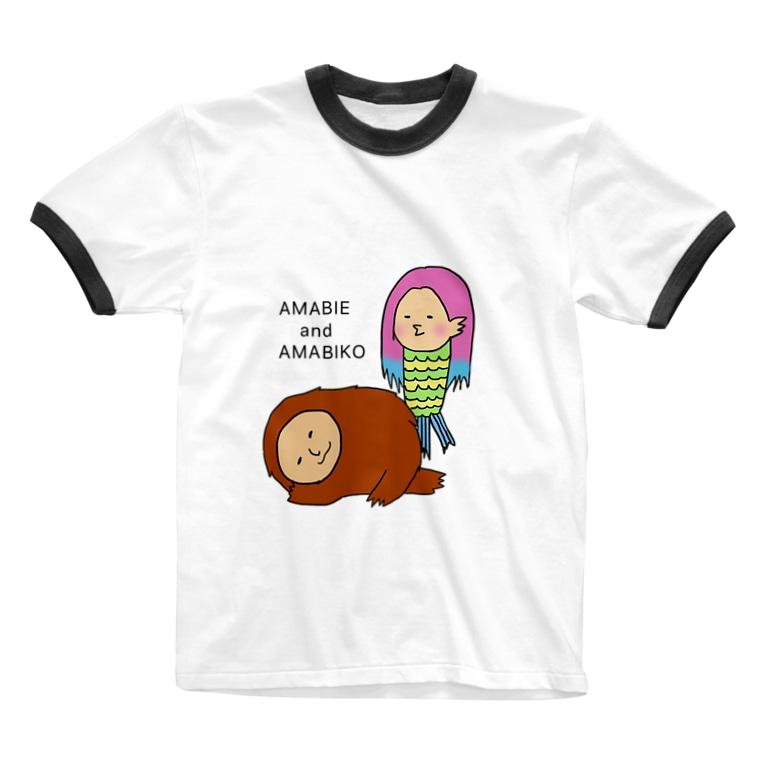 かちゃぼとまのえーずのアマビエとアマビコ Ringer T-shirts