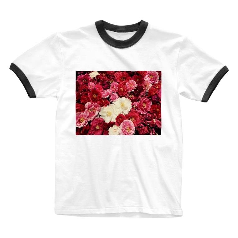 assssaのフラワーガーデン Ringer T-shirts