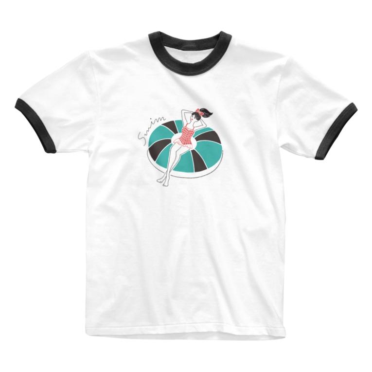 yuki illustrationのSWIM GIRL Ringer T-shirts