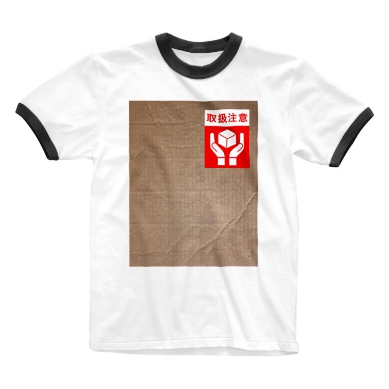 カマラオンテの取扱注意 ダンボール 運送 注意書きシール Ringer T-shirts
