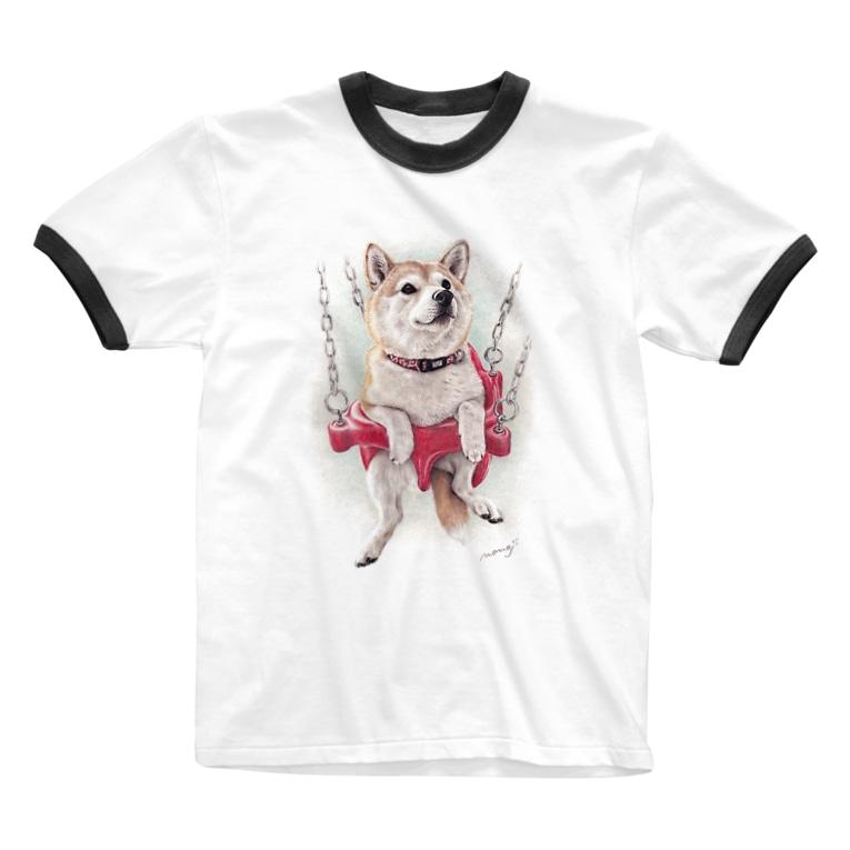 Momojiの犬画の柴犬16 Ringer T-shirts