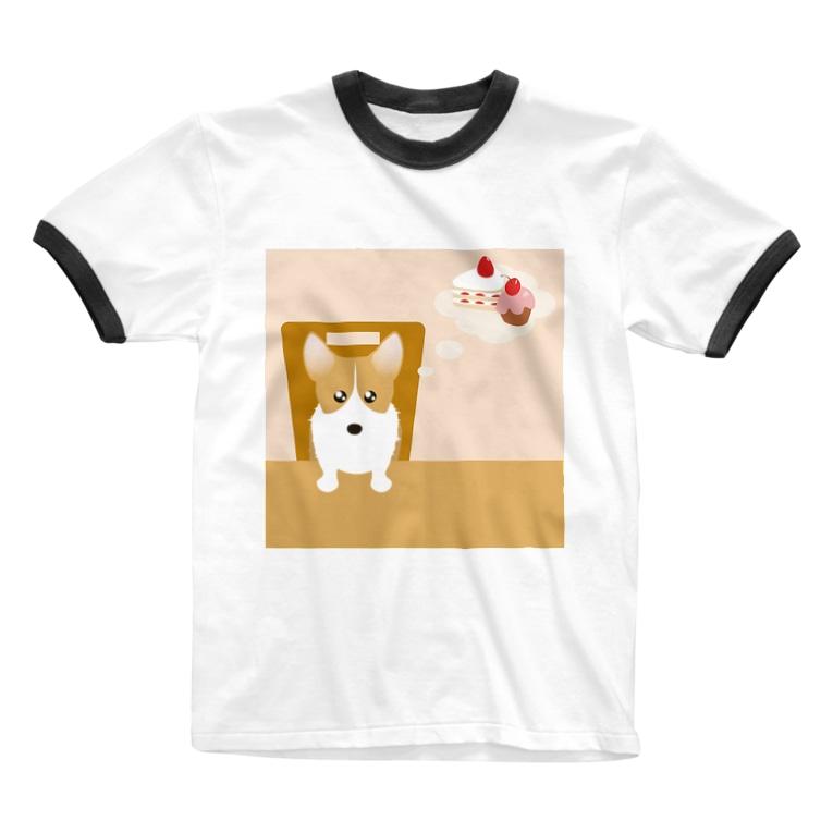 ふうふうたかのウェルシュ・コーギー・ペンブローク Ringer T-shirts