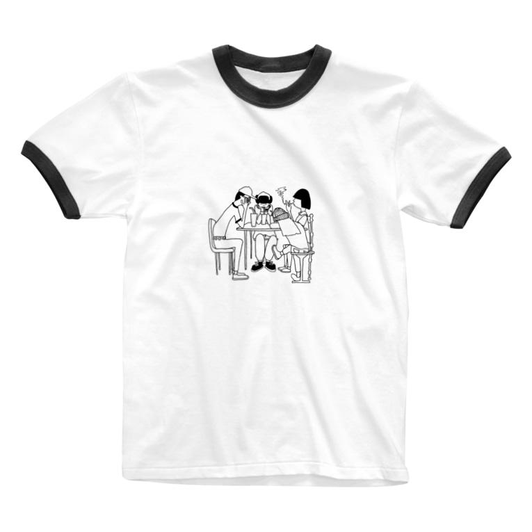ishi14のぐったりな4人 Ringer T-shirts