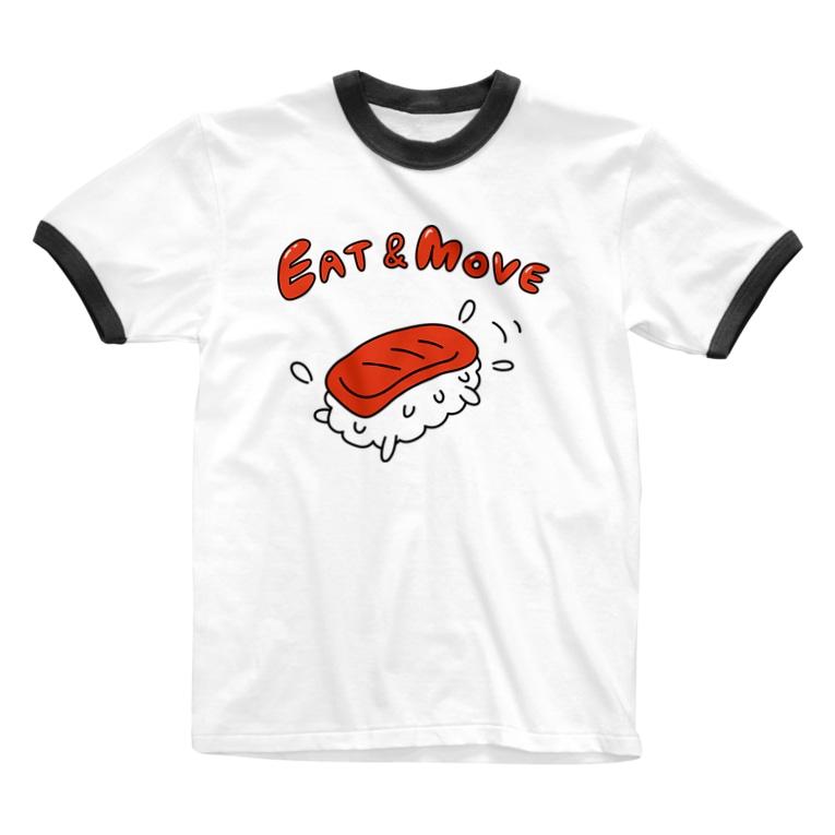 ガモさんのEat and Move マグロ Ringer T-shirts