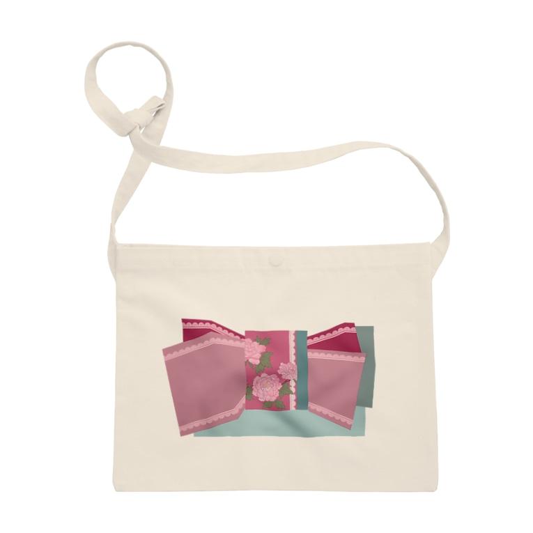yacocoの帯柄 水色×ピンク Sacoche