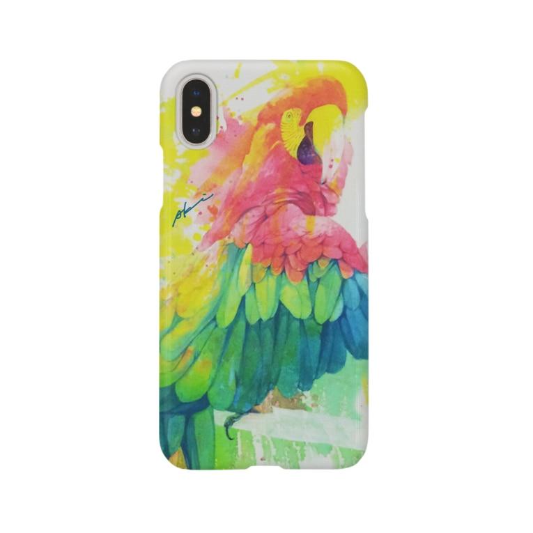 AKI ONLINE SHOPのひとり美しい赤い鳥 Smartphone cases