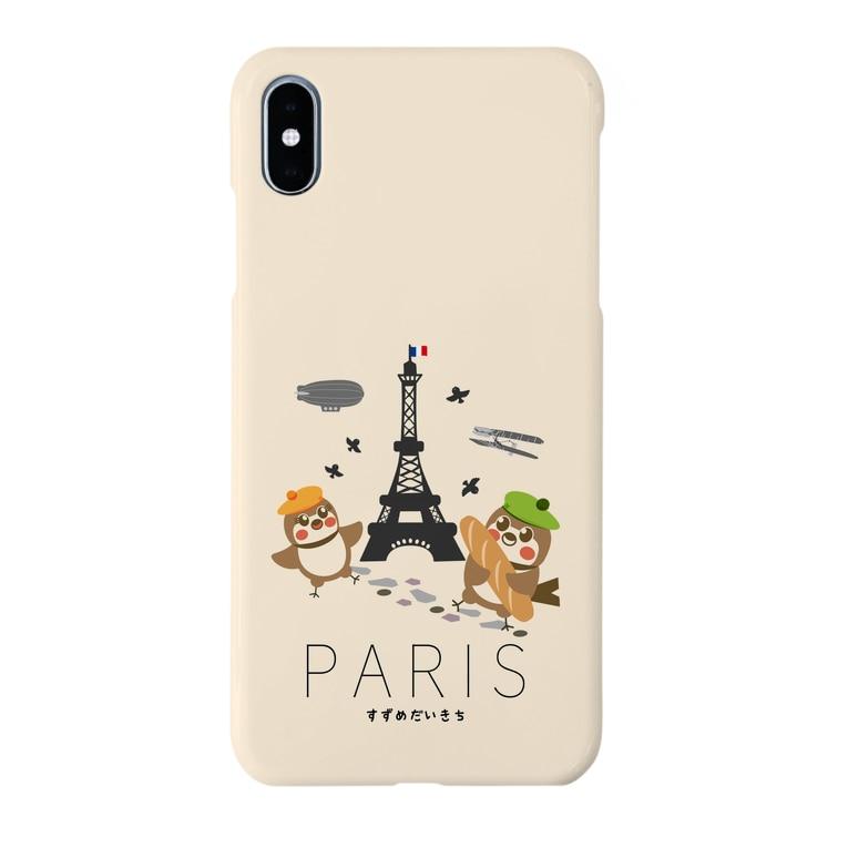 aliveONLINE SUZURI店のHello! すずめだいきち(PARIS) Smartphone cases