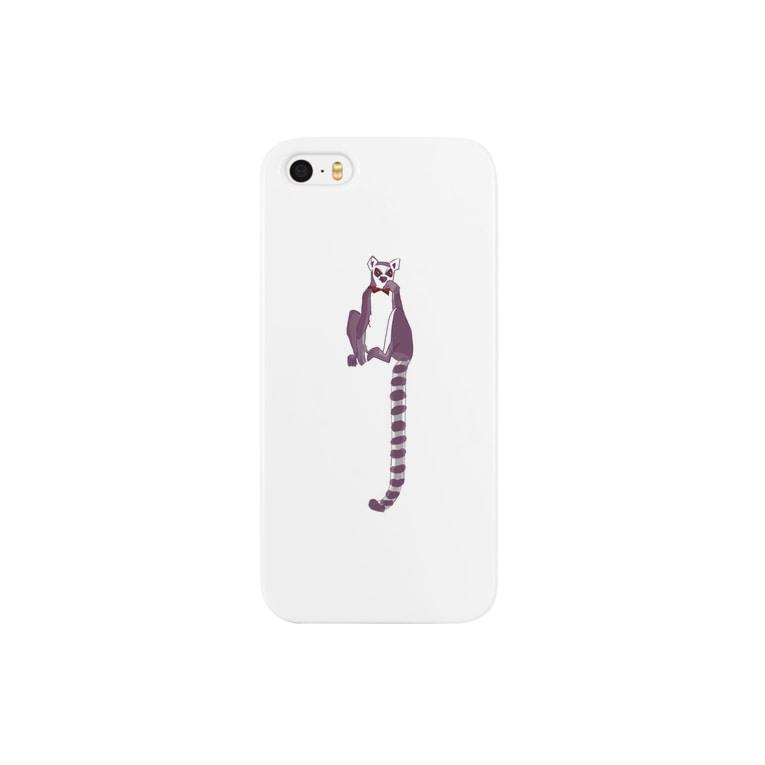 593の蝶ネクタイのワオキツネザル01 Smartphone cases