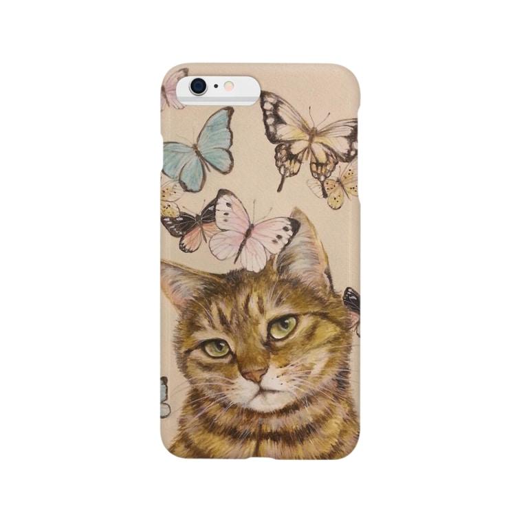 おちょぴの猫に蝶 Smartphone cases