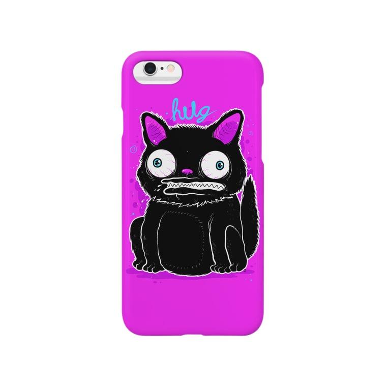 HUGオフォシャルショップのBlack Cat Hot Pink Smartphone cases