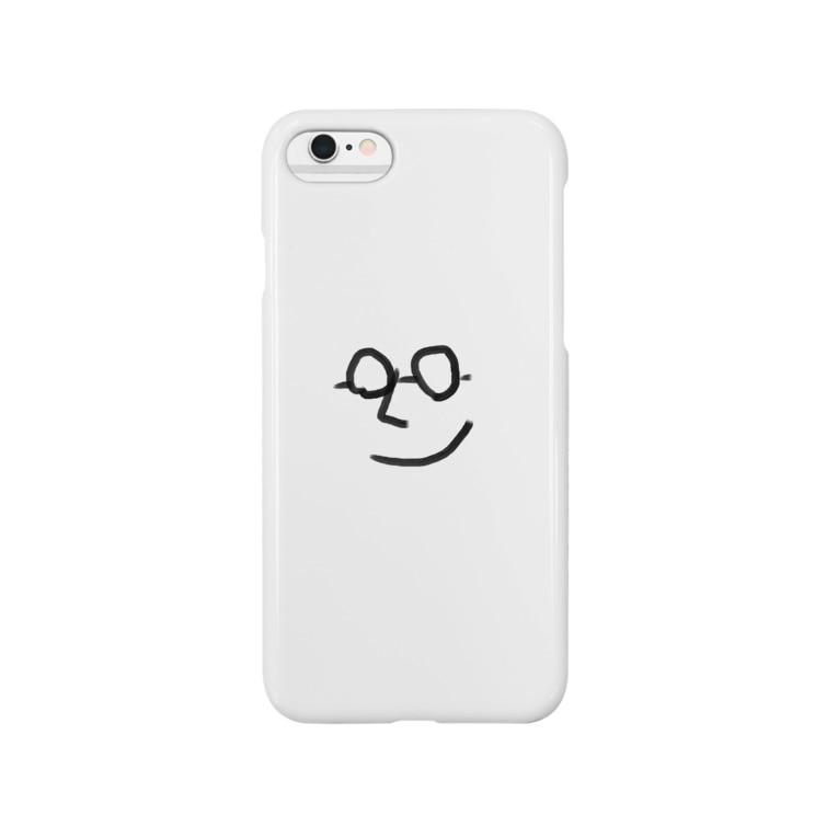 フラット(公式アカウント)の微笑むメガネ Smartphone cases