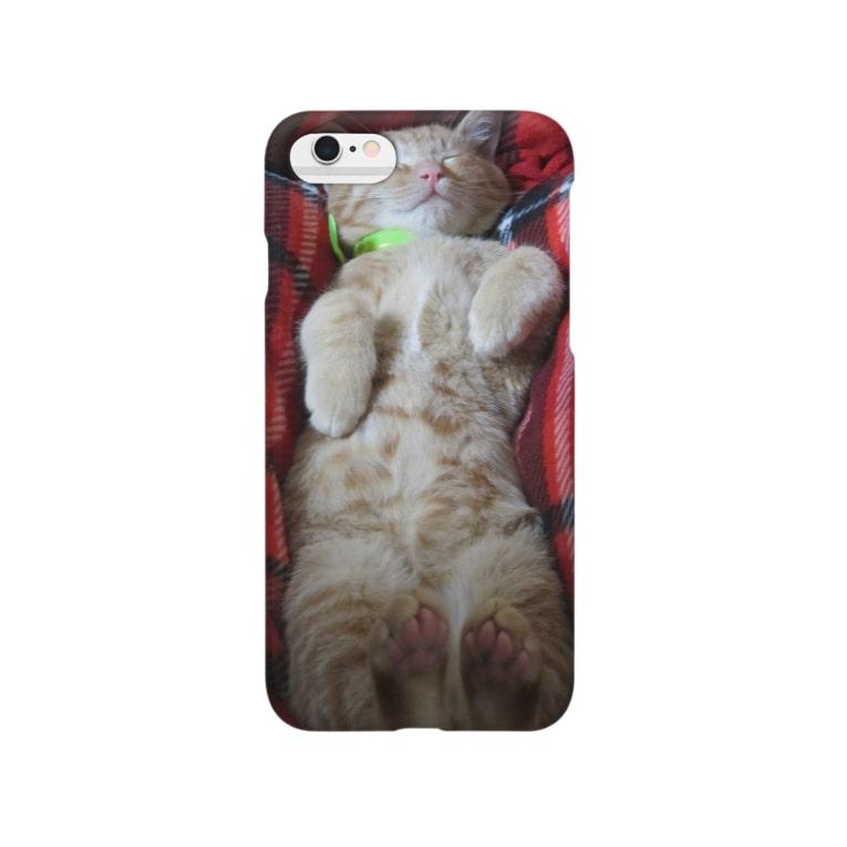 猫充商店の寝たら起きません はく Smartphone cases