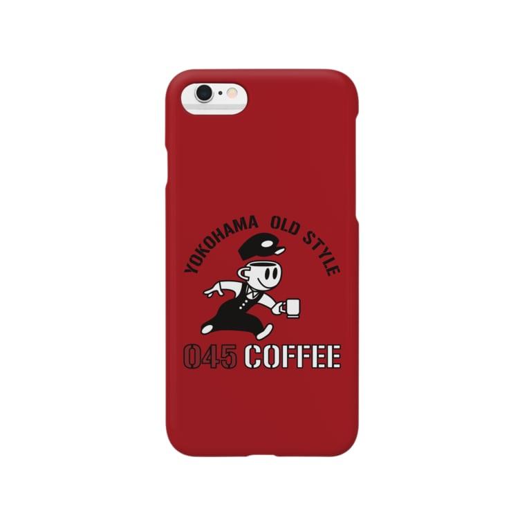 045COFFEE YOKOHAMAの045COFFEE A ダークレッド Smartphone cases