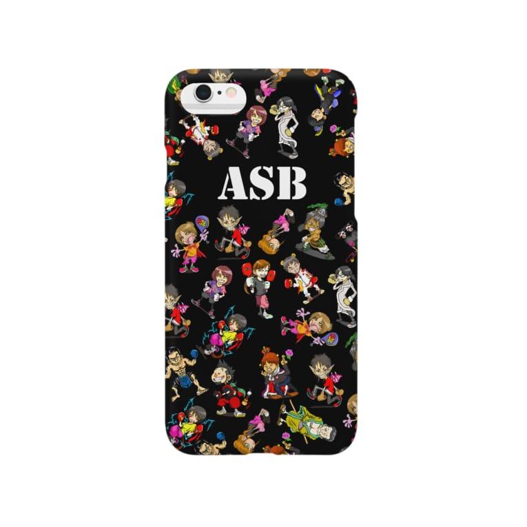 ASB boxingclub SHOPのASBスタッフキャラクターアイテム(黒) Smartphone cases