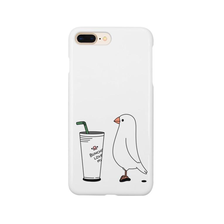 ・buncho days・ 文鳥デイズのカフェ文鳥 Smartphone cases