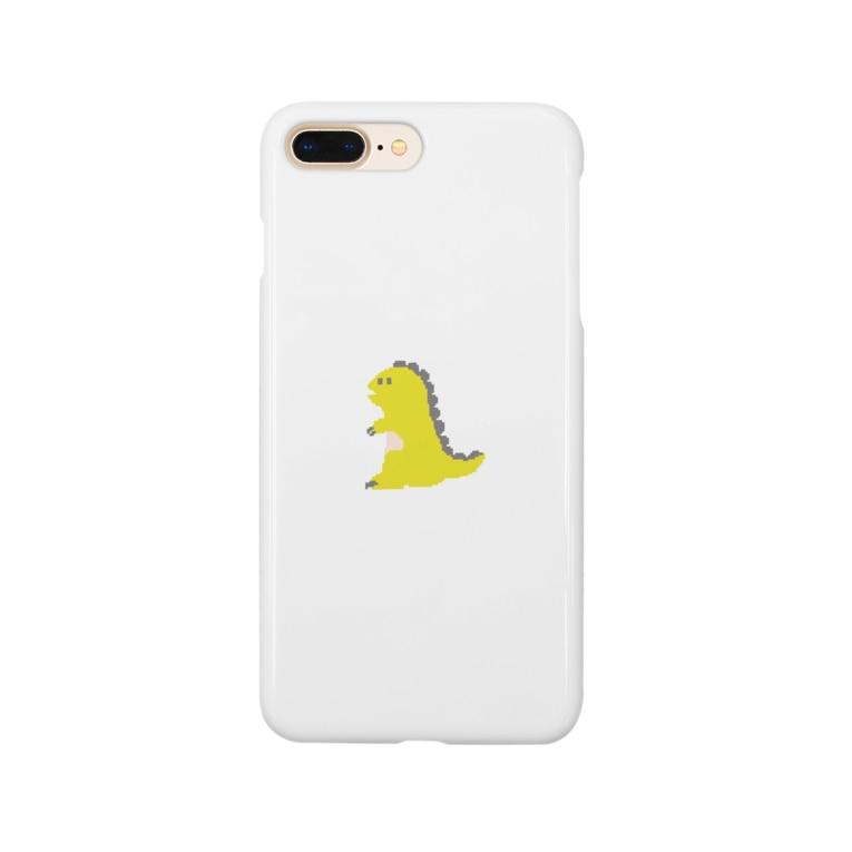 namunamuのドット恐竜 1匹 黄色 イエロー Smartphone cases