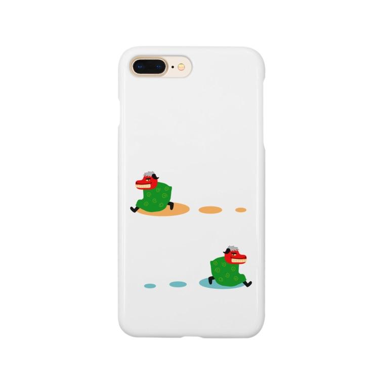 手描きのエトセトラの走る獅子舞つい Smartphone cases