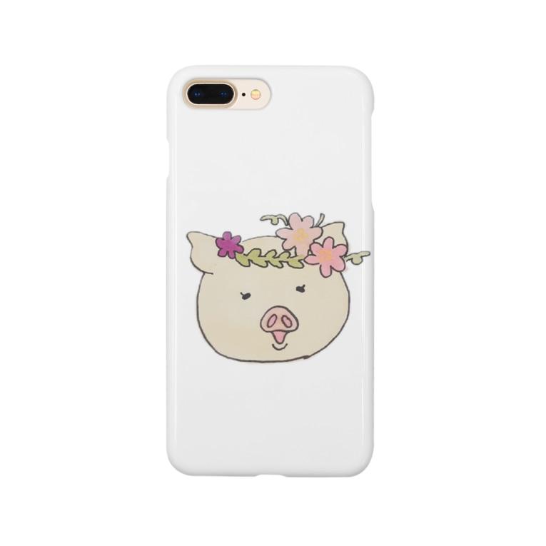 723nanani-sanの幸せのブタさん Smartphone cases