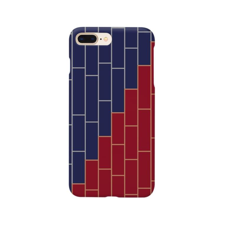 ことばの丘グッズショップのスマホケースNo.4(赤×青) Smartphone cases