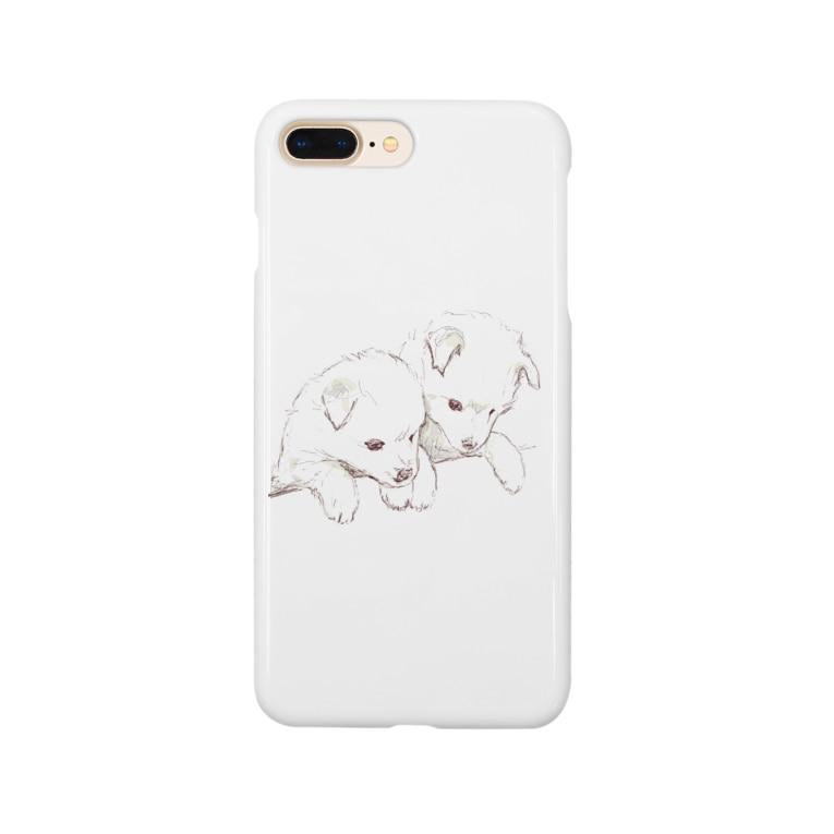 百合の筆の愛らしい兄弟子犬 Smartphone cases