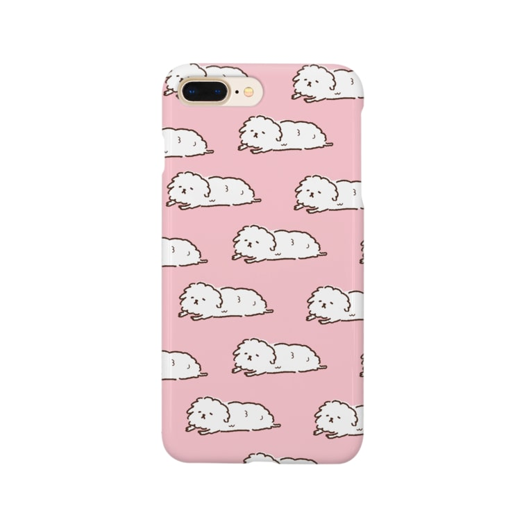 tanameayaのずっと寝てる犬まみれ(ピンク) Smartphone cases