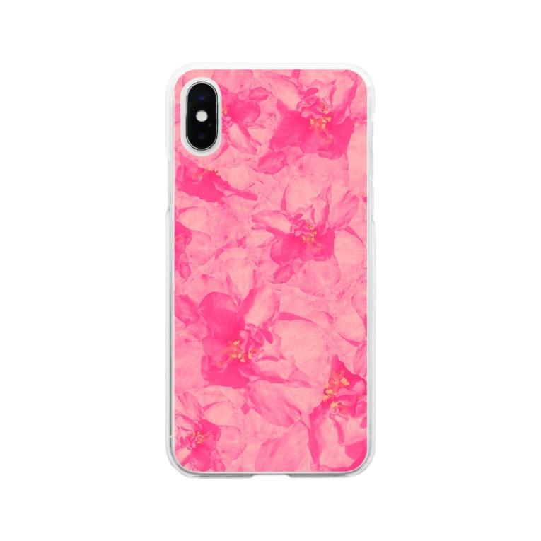 ちるまの店の重なりお花 Soft clear smartphone cases