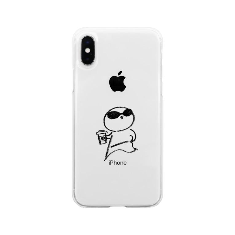 さかがわ成美のひよさんラテ モノクロ線画 Soft clear smartphone cases