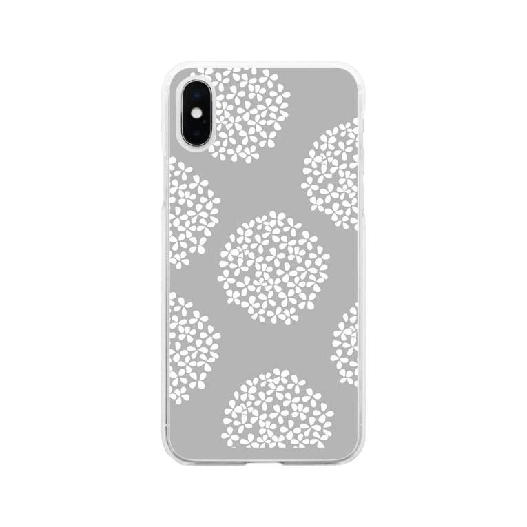 sonoteniの北欧 花柄 アジサイ 1 グレー #209 Soft Clear Smartphone Case
