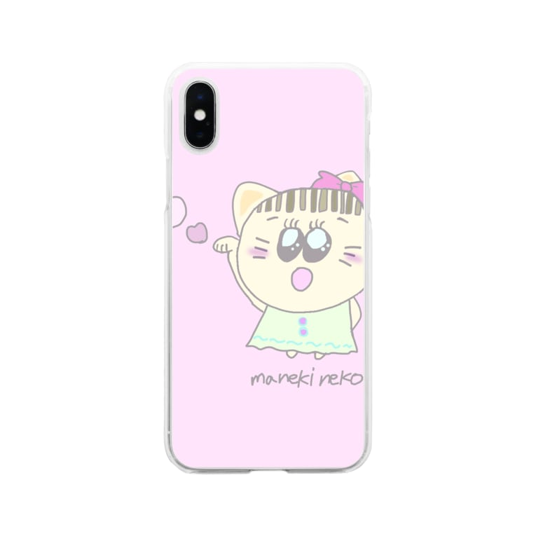 GREENHOUSEのピンクの招き猫 Soft clear smartphone cases