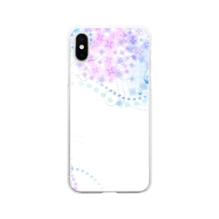 orange_honeyのあじさいと水滴2-2 Soft clear smartphone cases