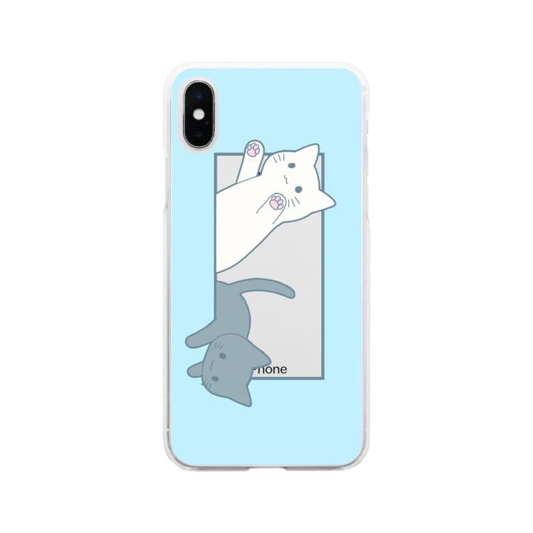 かわいいもののおみせ いそぎんちゃくのとびだす猫 Soft Clear Smartphone Case