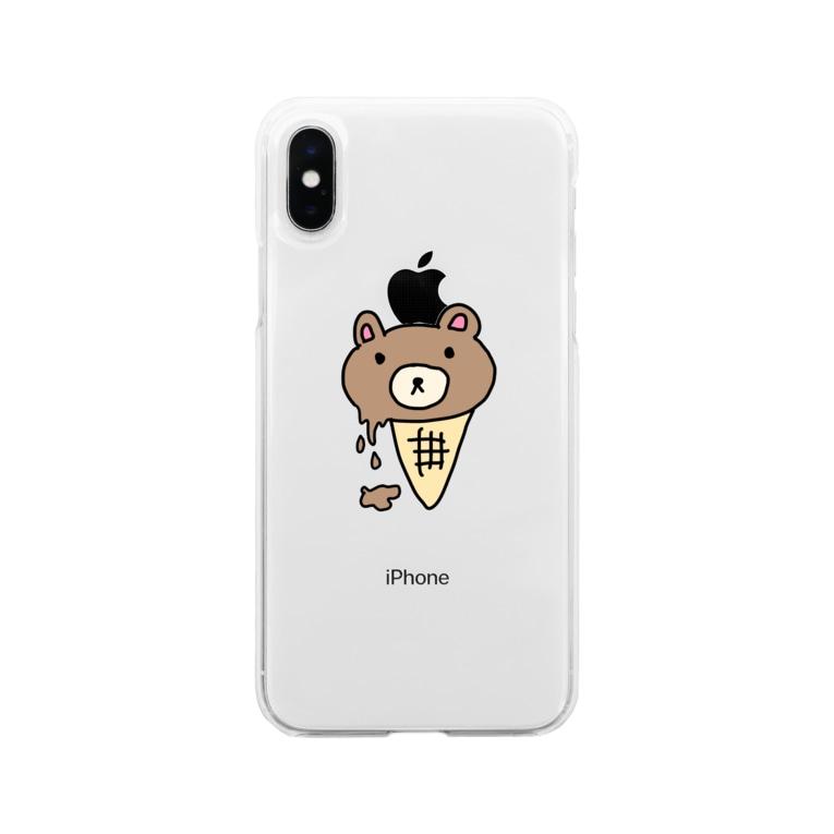 honeyのくまさんアイス(溶けかけ) Soft clear smartphone cases