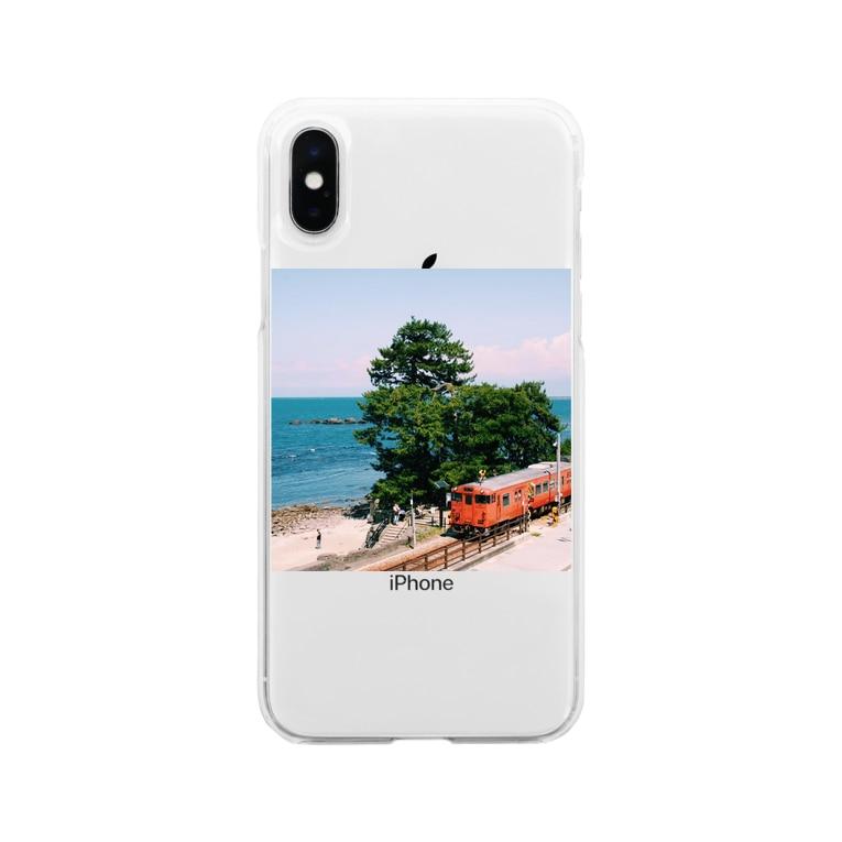 りんごちゃんのフォトT〜雨晴海岸〜 Soft clear smartphone cases