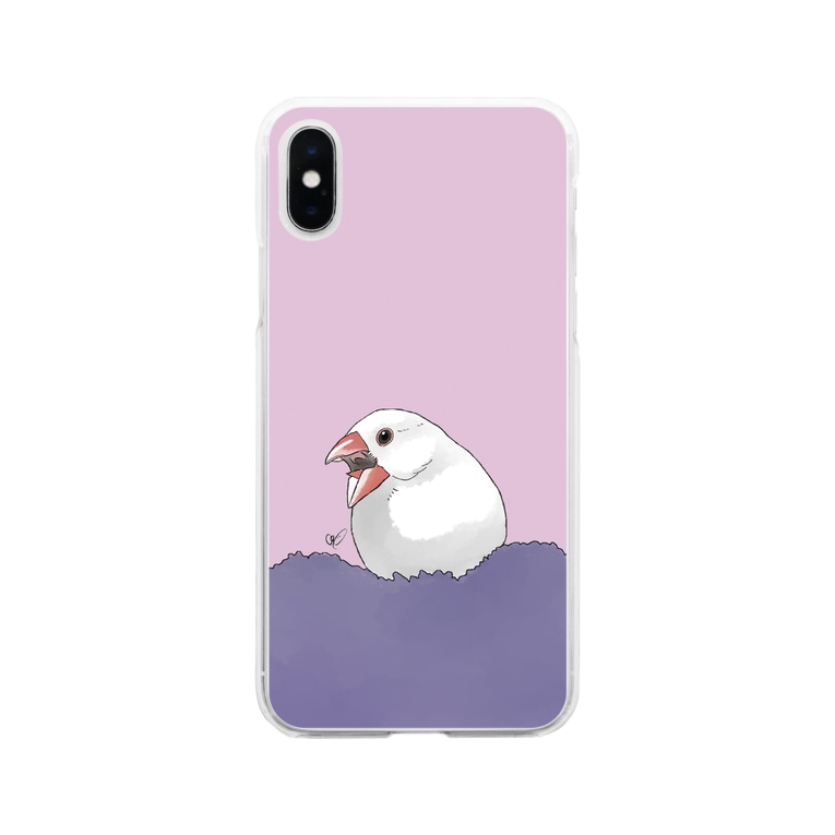 calcalのあくび白文鳥 Soft clear smartphone cases