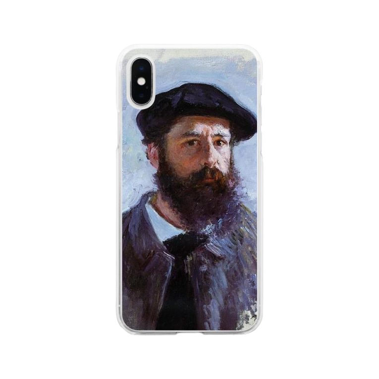 Art Baseのクロード・モネ / 1886 / Self-Portrait with a Beret / Claude Monet Soft clear smartphone cases