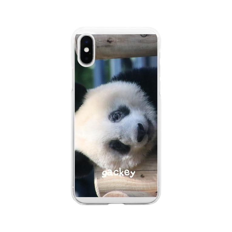 gackeyのひょっこりシャンシャン Soft clear smartphone cases